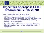 objectives of proposed life programme 2014 2020