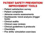 patient safety prevention improvement tools
