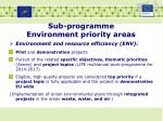 sub programme environment priority areas