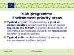 sub programme environment priority areas1