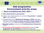 sub programme environment priority areas2