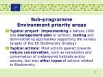 sub programme environment priority areas3