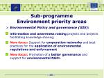 sub programme environment priority areas4