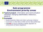 sub programme environment priority areas5