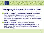 sub programme for climate action