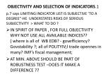 objectivity and selection of indicators 1