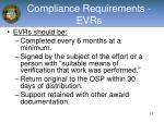 compliance requirements evrs