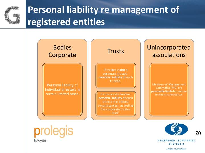 Personal liability re management of registered entities