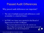 passed audit differences