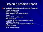 listening session report