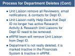 process for department deletes cont