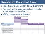 sample new department report