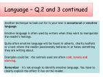 language q 2 and 3 continued