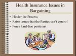 health insurance issues in bargaining