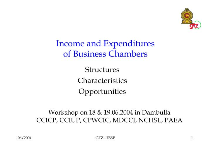 income and expenditures of business chambers n.