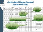 controllare l elenco studenti colonna n p pisa
