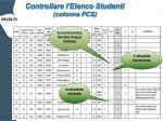 controllare l elenco studenti colonna pcs