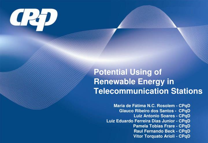 potential using of renewable energy in telecommunication stations n.