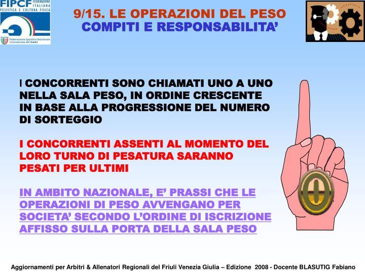 9/15. LE OPERAZIONI DEL PESO