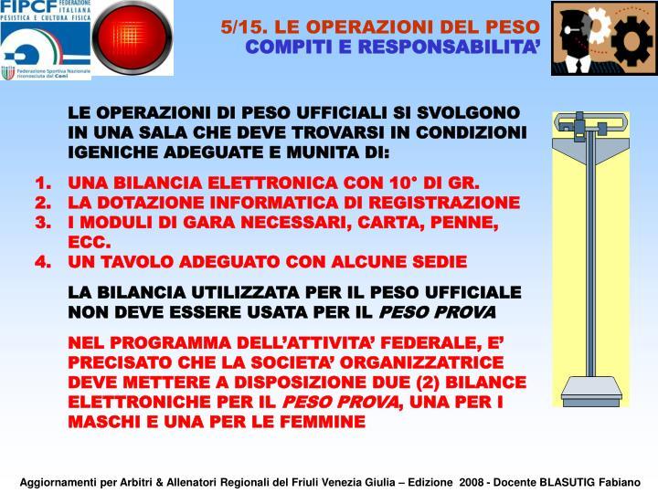 5/15. LE OPERAZIONI DEL PESO