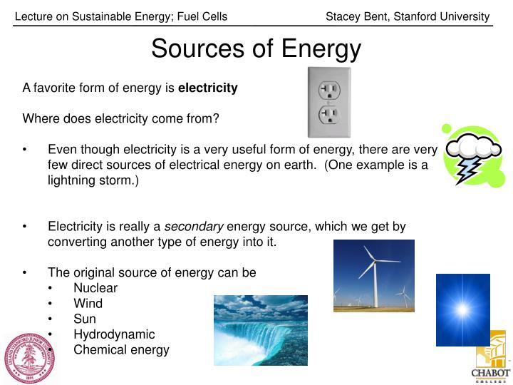 sources of energy n.