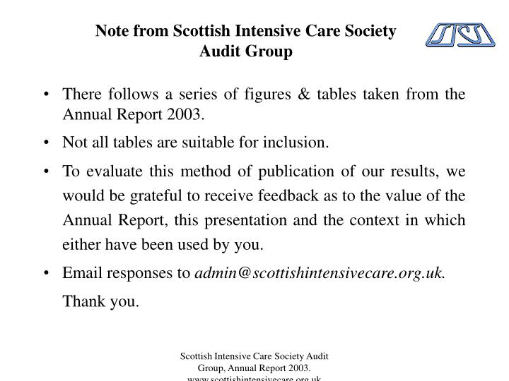 note from scottish intensive care society audit group n.