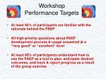 workshop performance targets