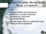is infant toddler mental health really a problem