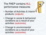 the paep contains all performance measures