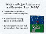 what is a project assessment and evaluation plan paep