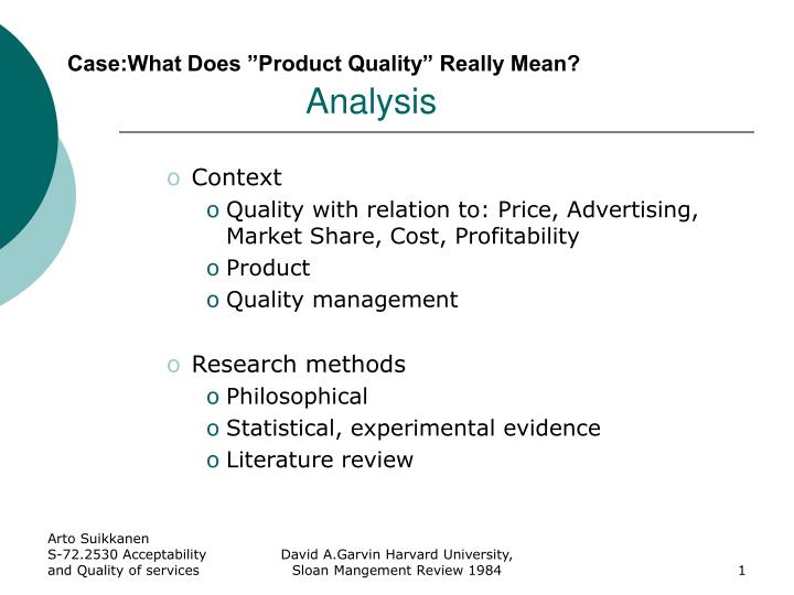 case what does product quality really mean analysis n.