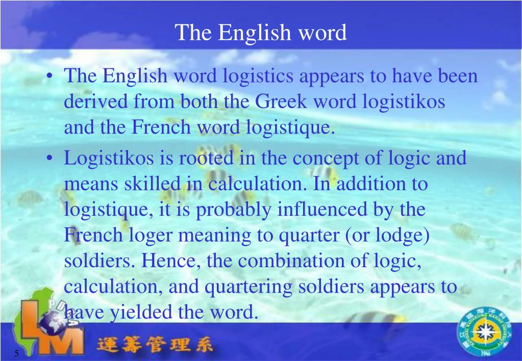 PPT - Logistics Concepts and Structure The Term Logistics PowerPoint