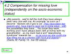 4 2 compensation for missing love independently on the socio economic status