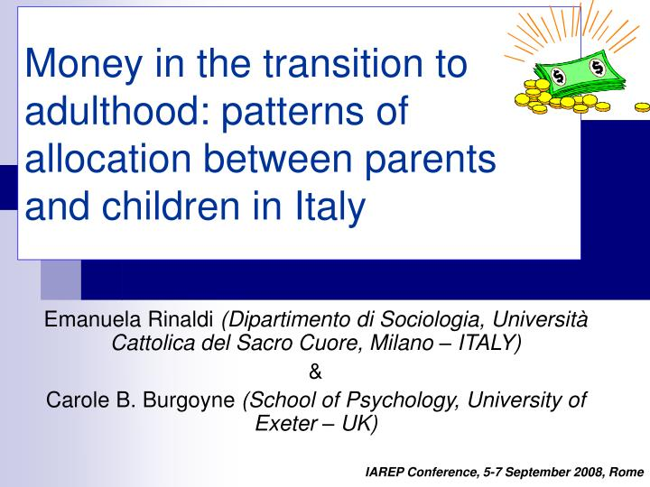 money in the transition to adulthood patterns of allocation between parents and children in italy n.