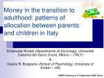 money in the transition to adulthood patterns of allocation between parents and children in italy