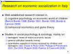 research on economic socialization in italy