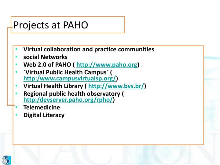 Projects at PAHO