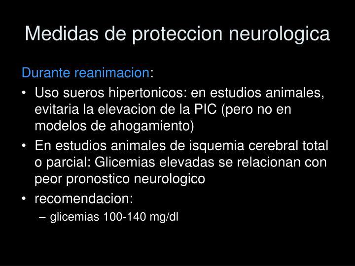 Medidas de proteccion neurologica