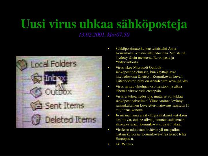Uusi virus uhkaa sähköposteja