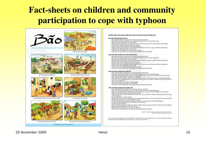 Fact-sheets on children and community participation to cope with typhoon