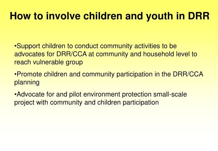 How to involve children and youth in DRR
