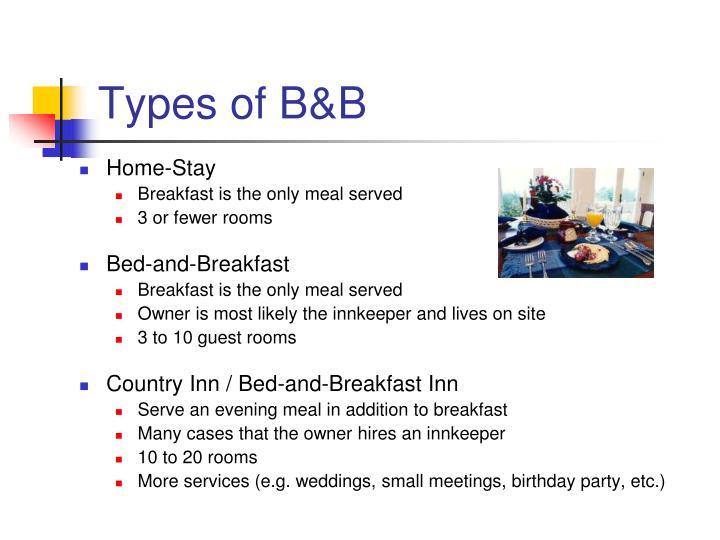 Types of B&B