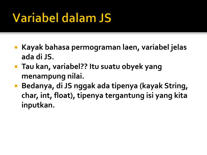 Variabel dalam JS