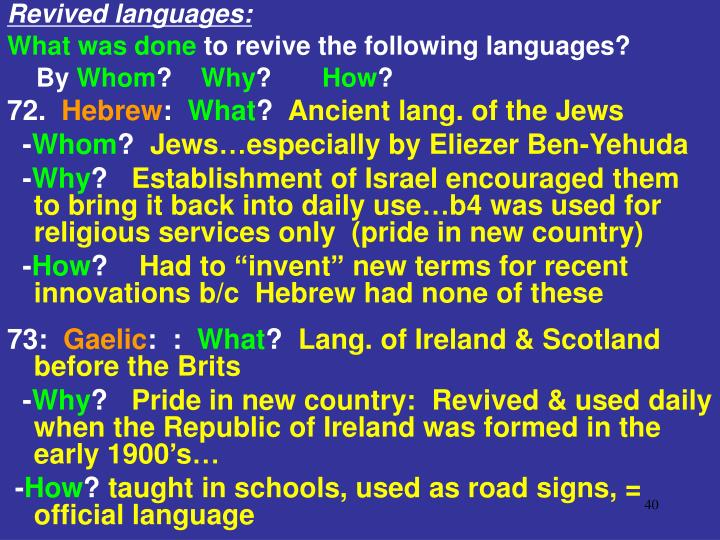 Revived languages: