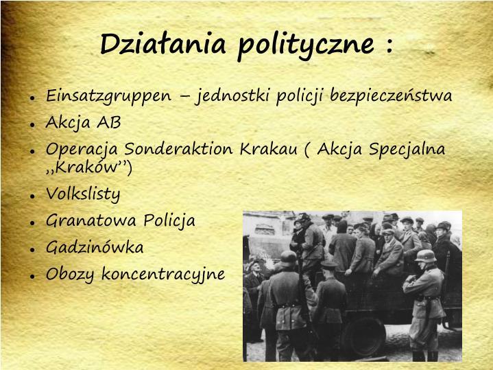 Działania polityczne :