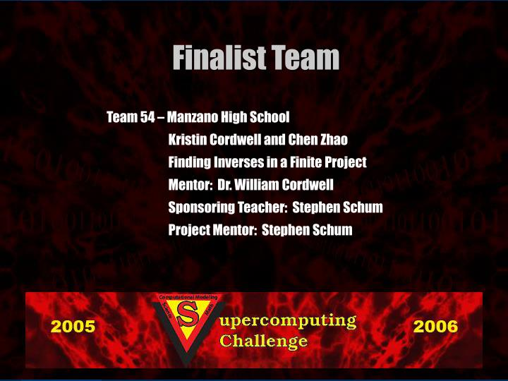 Team 54 – Manzano High School