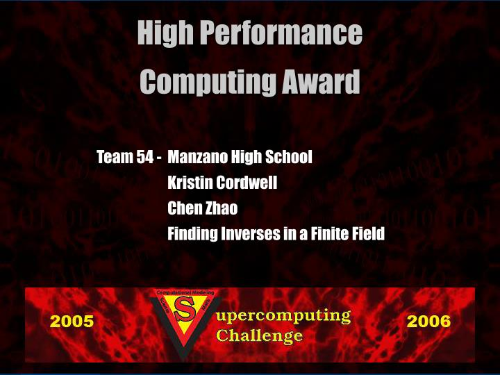 Team 54 -  Manzano High School
