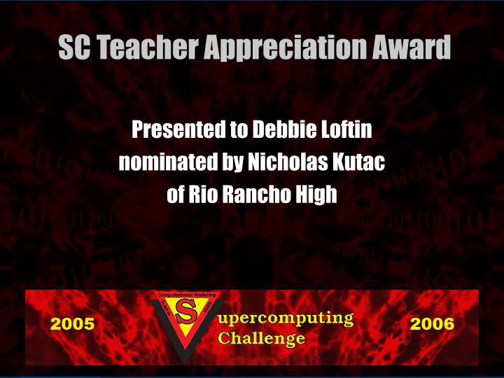 Presented to Debbie Loftin