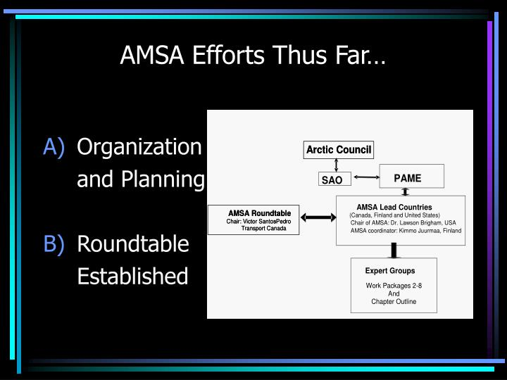 AMSA Efforts Thus Far…