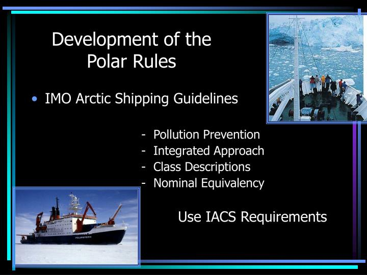 Development of the polar rules